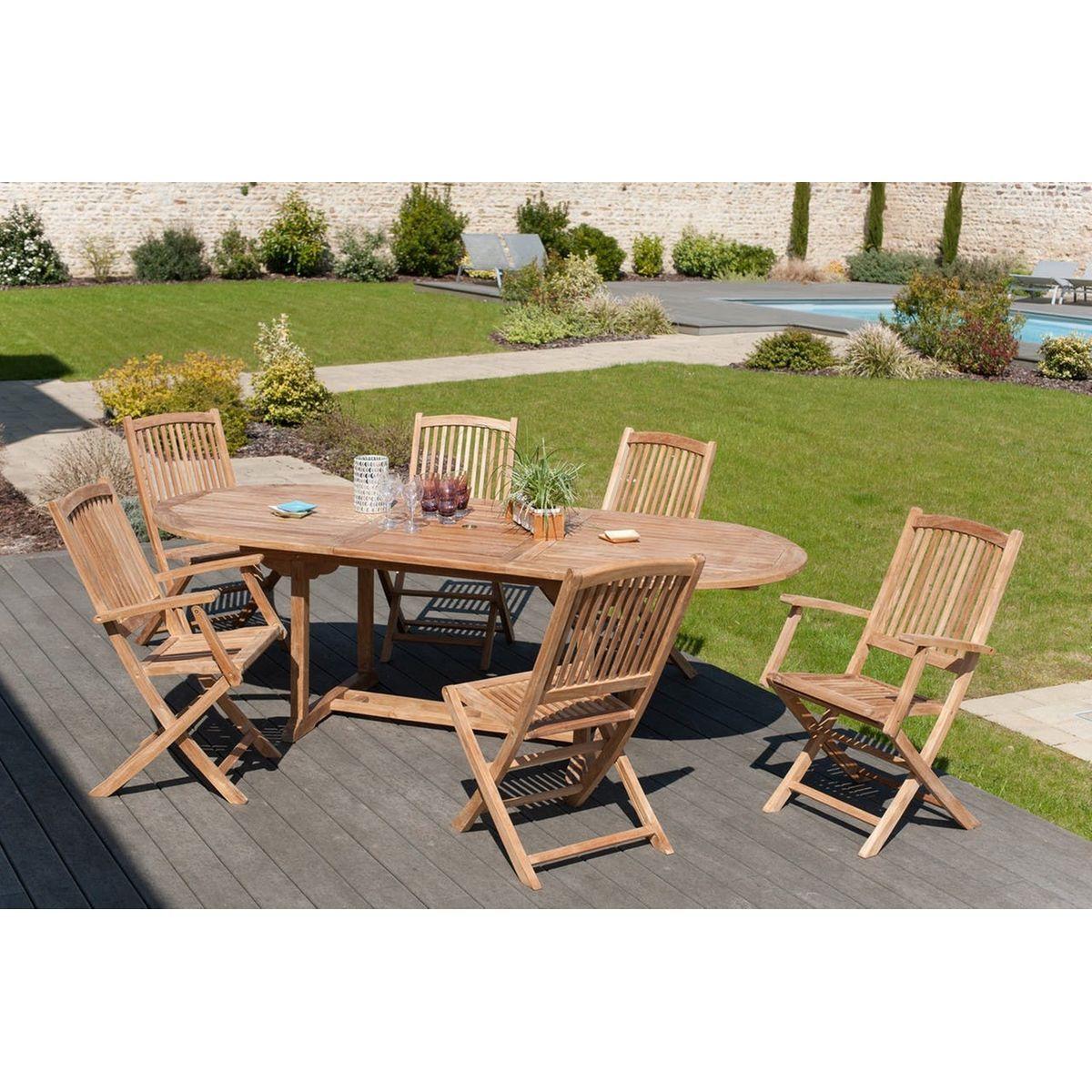 Salon Jardin Teck Table Ovale 200x100cm 4 Chaises 2 ...