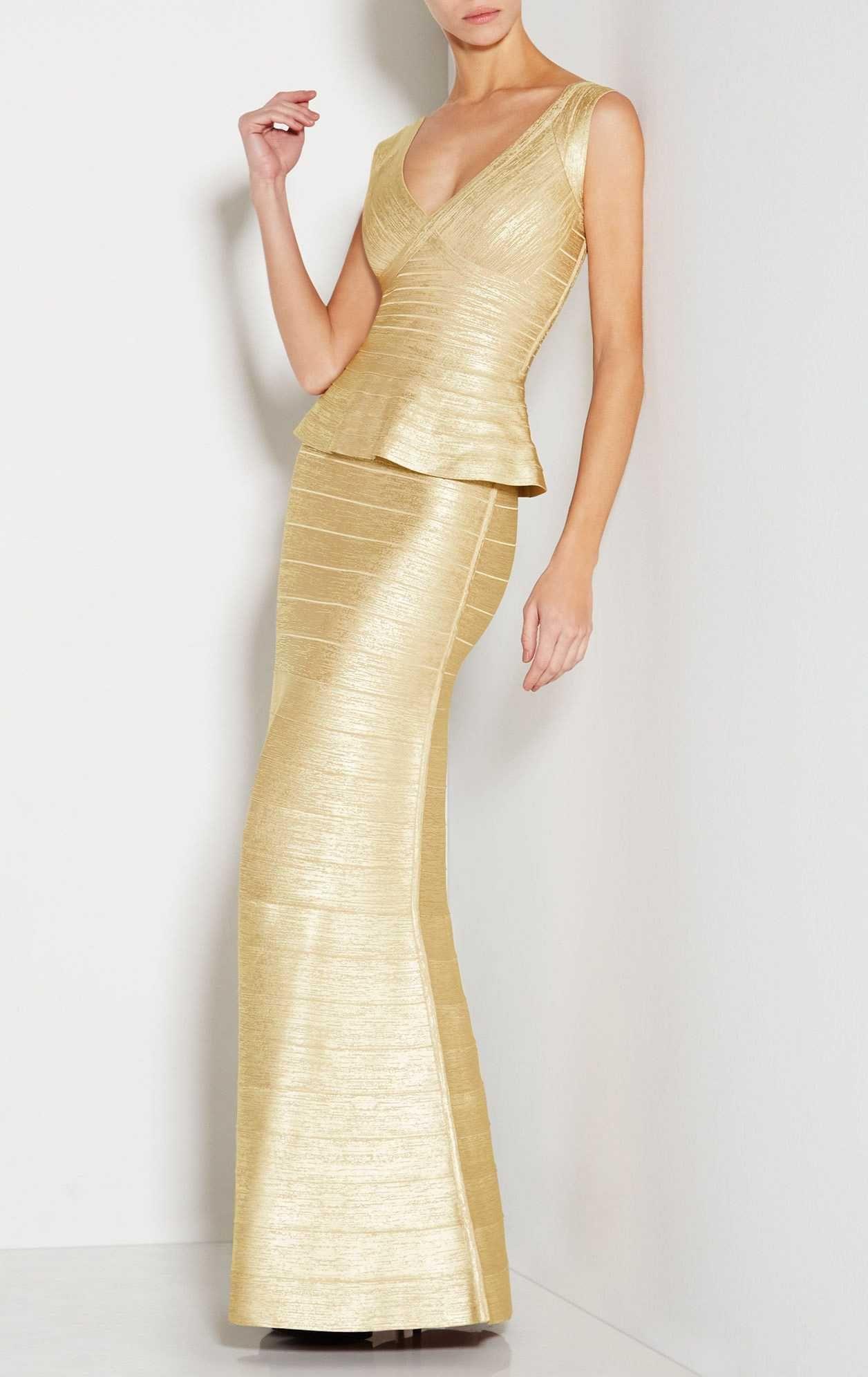Herve leger izabela woodgrain foil print long dresses herve leger