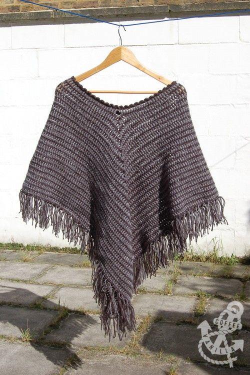 Classic Two Tone Poncho - Crochet Pattern | Crochet poncho, Ponchos ...