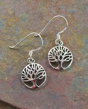 Elegant Sterling Silver Tree of Life Earrings