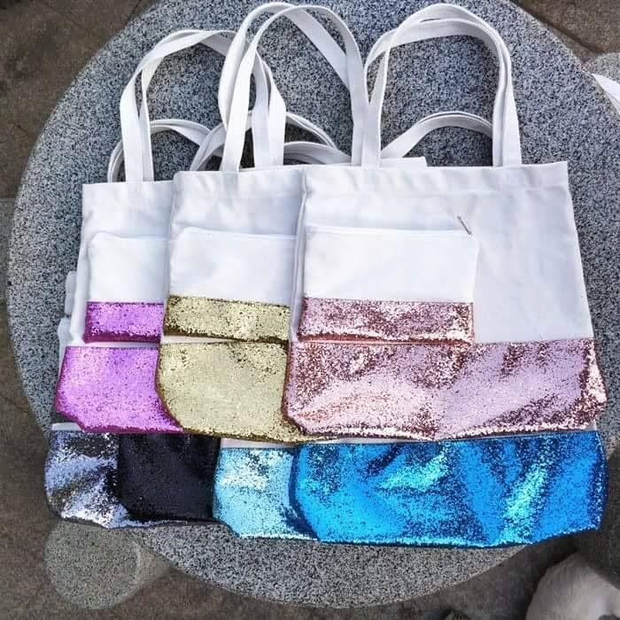 Glitter Bottom Tote or Make Up Bag Bags, Tote bag, Monogram