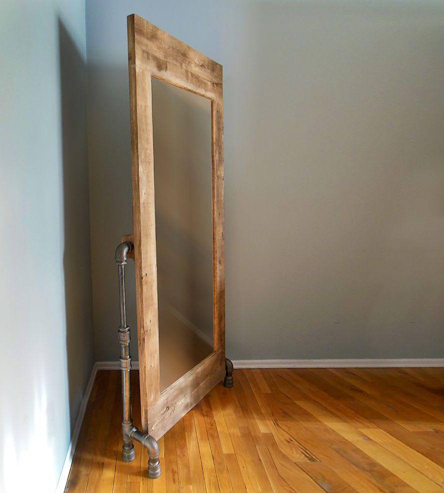 Industrial Floor Mirror: Pipe Legs & Wood Frame Mirror