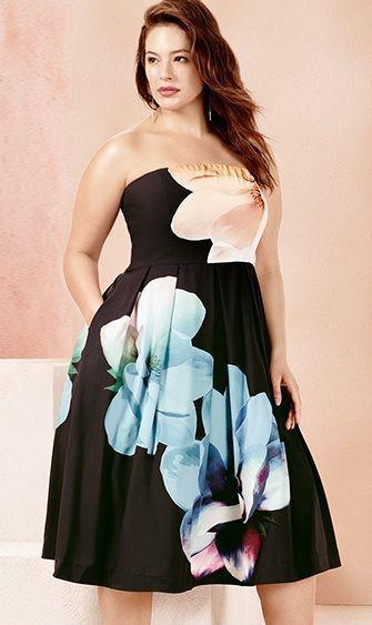 Plus Size Floral Print Strapless Dress | Plus Size Fashion ...