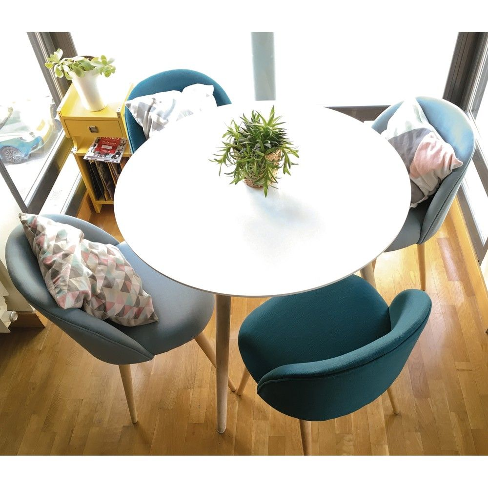 Round dining table and chairs for 4  Table à manger ronde blanche  personnes D  Round dining table