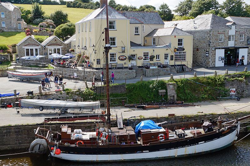 The Sailing Ship Ruth In Front Of Pier House Hotel Charlestown Cornwall