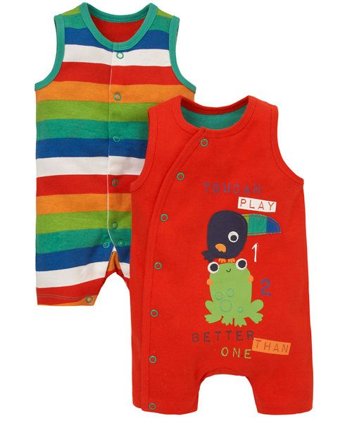 6f464f427375 Jungle Rompers - 2 Pack - onesies - Mothercare