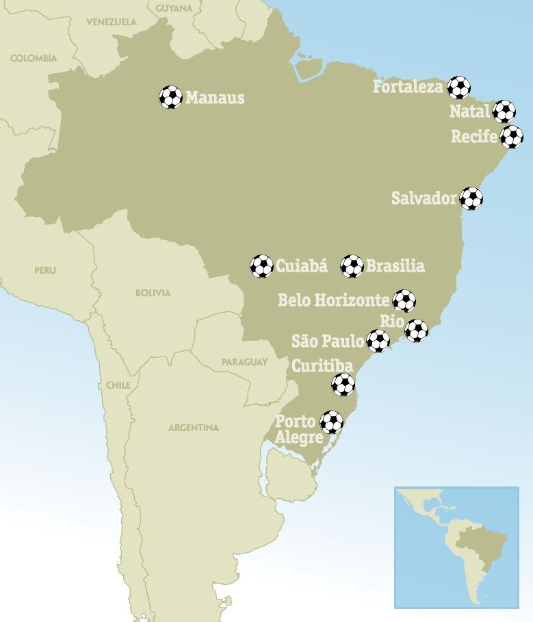 The 12 cities due to host the fifa world cup 2014 in brazil have the 12 cities due to host the fifa world cup 2014 in brazil have been selected gumiabroncs Image collections
