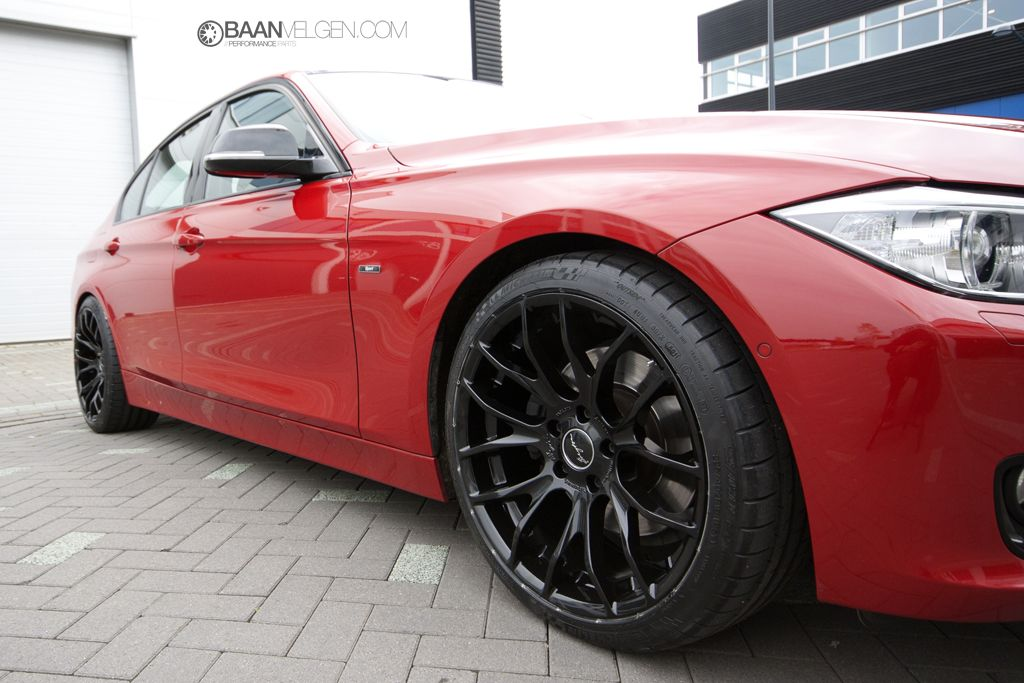 Red Bmw F30 328i With Breyton Wheels And Eibach Pro Kit With
