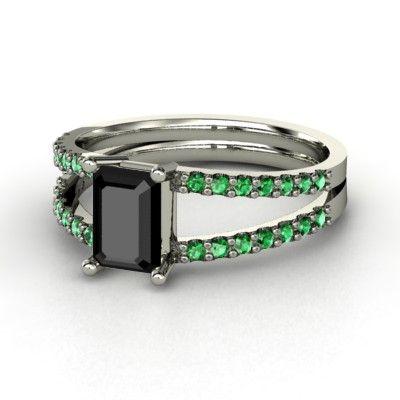 Emerald Black Diamond Platinum Ring with Emerald & Emerald    Samantha Ring   Gemvara