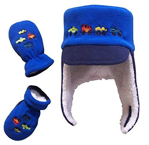 7b4964b8cb9 N Ice Caps Boys Sherpa Lined Micro Fleece Embroidered Hat and Mitten Set (6-18  Months