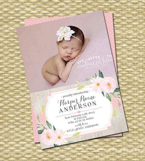Birth Baby Announcement Photo Card 5x7 Ornate Printable or Professional Printing