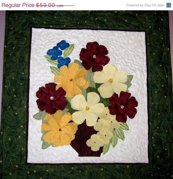 Quilted wall art Vase of Flowers in 3D by KellettKreations. On sale ...