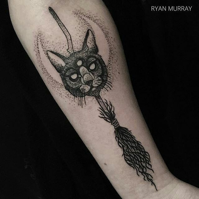 black cats broomsticks tattoo by ryan murray at blackveiltattoo in lynn ma. Black Bedroom Furniture Sets. Home Design Ideas