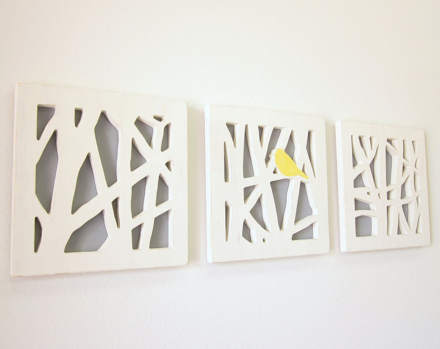 Yellow And Grey Bathroom Wall Decor : Yellow bird wall art set triptych