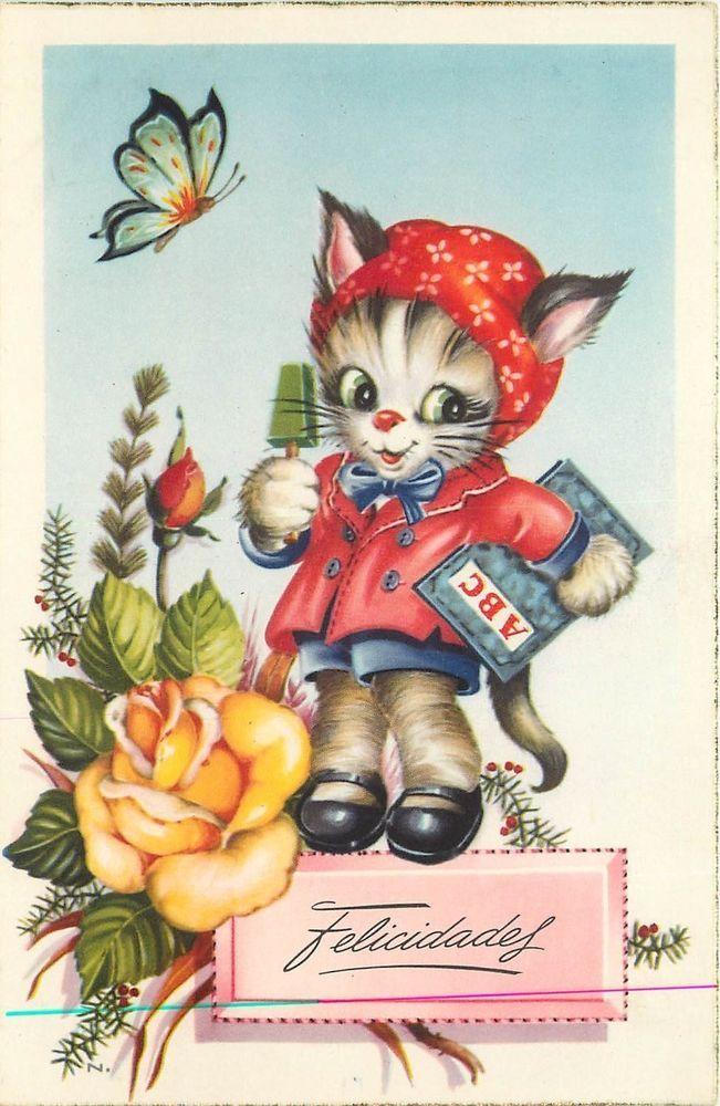 Dressed Kitten with School Book 1940s Spanish Postcard