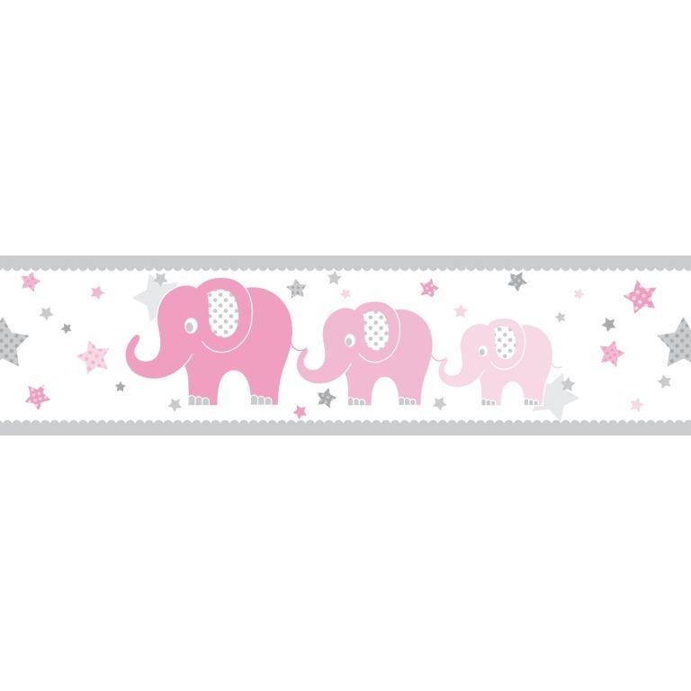 Kinderzimmer Bordüre Elefanten rosa/grau, selbstklebend