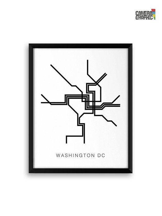 Subway Map Wall Art Endpoints.Washington Dc Metro Map Poster A Graphic Design Illustration Print
