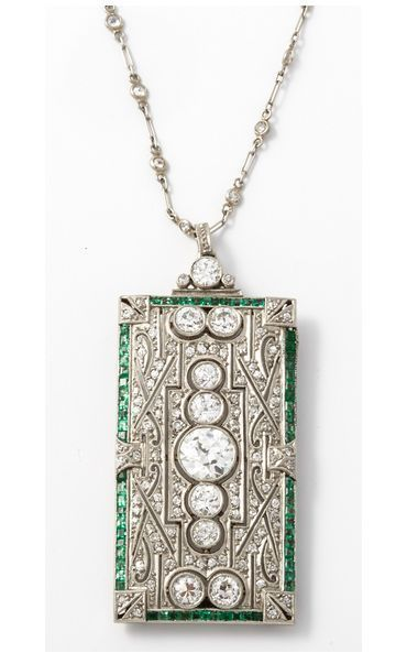 An Art Deco Platinum Emerald Diamond Brooche Pendant