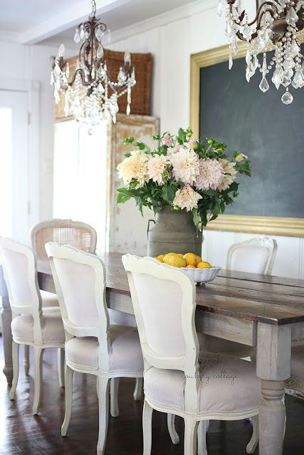 An early morning story & pretty cottage garden blooms in the dining room…