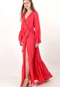 f724c5ec954 Μακρύ robe φόρεμα με βολάν στα μανίκια. | ΦΟΡΕΜΑΤΑ | Βολάν, Φορέματα ...