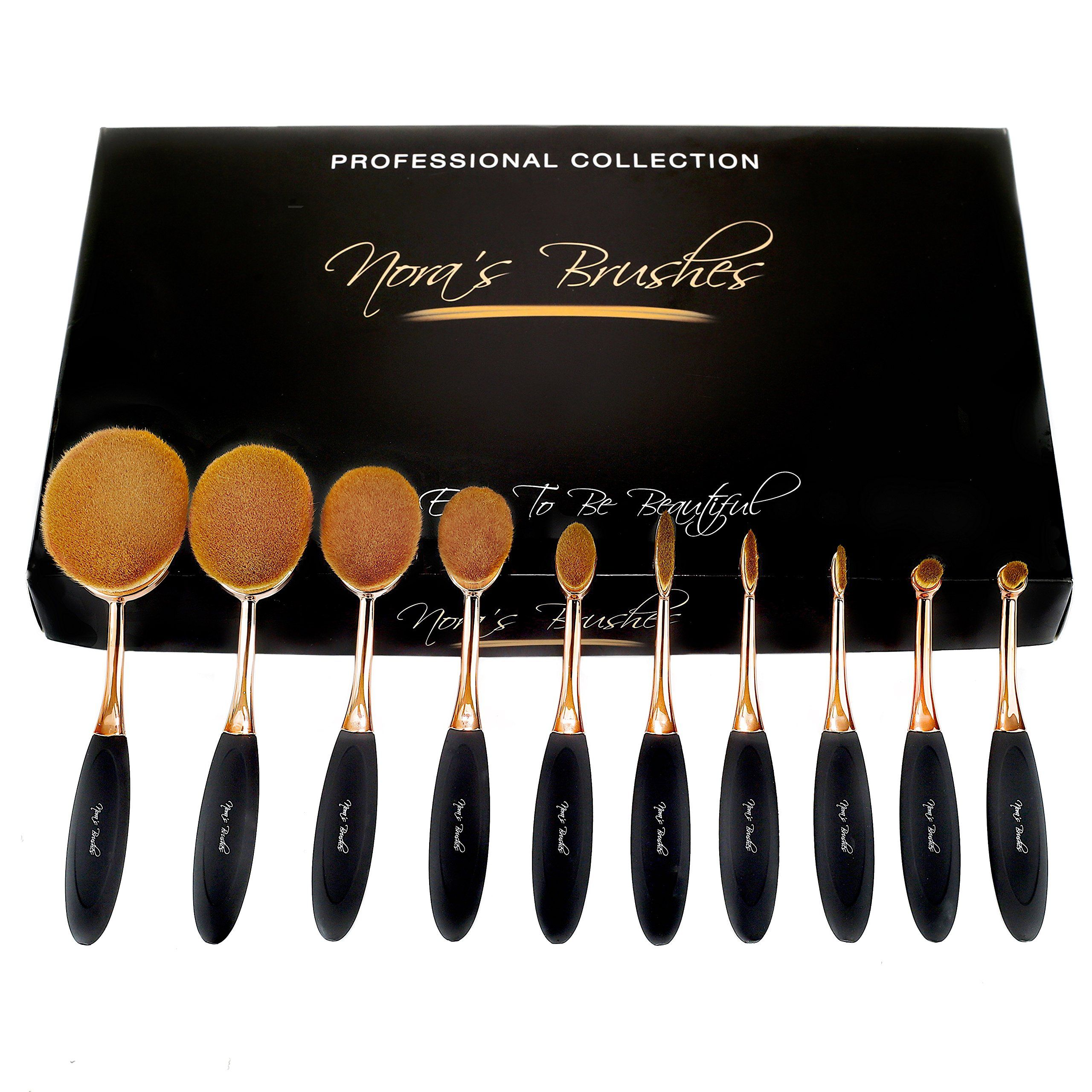 Nora's Brushes Oval Toothbrush Makeup Sets (Pack of 10