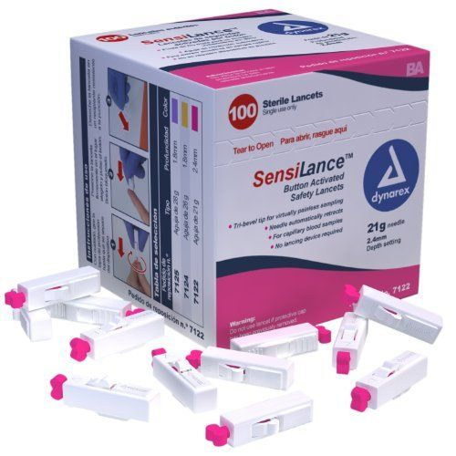 Dynarex Sensilance Safety Lancets, 21 Gauge, Sterile, 100 Count by Dynarex. $19.31. Button Activated Lancets