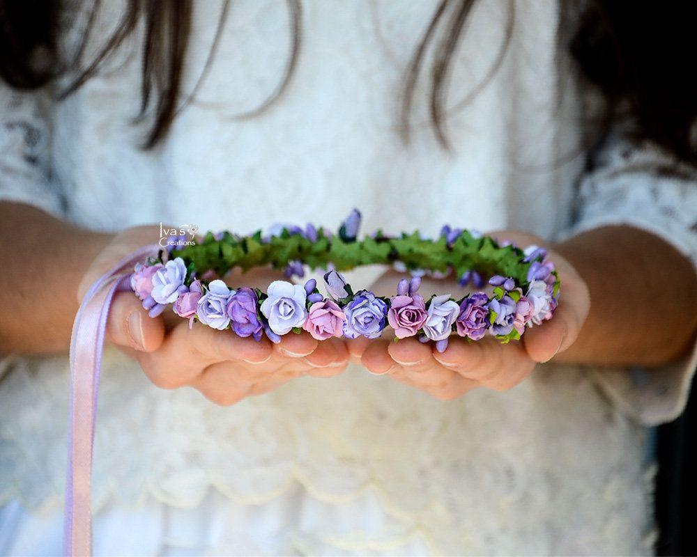 Purple Flower Crown Lavender Hair Wreath Lilac Headband Violet