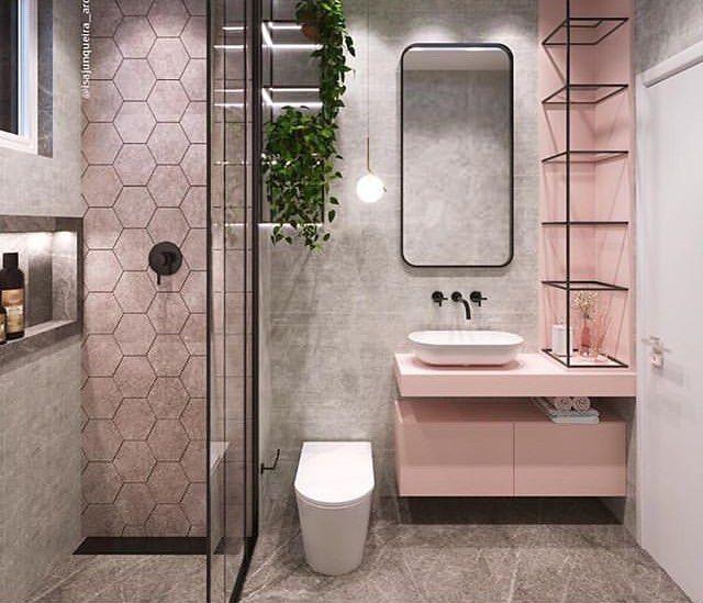 Esse banheiro lindo gente! Concreto e rosé 😍😍 Autori