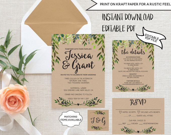 Wedding Invitation Template Set Editable Rustic Rsvp Card Detail Printable Garden Greenery Laurels