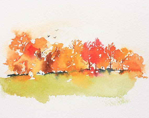 Fall Trees Watercolor Watercolor Trees Fall Watercolor Painting