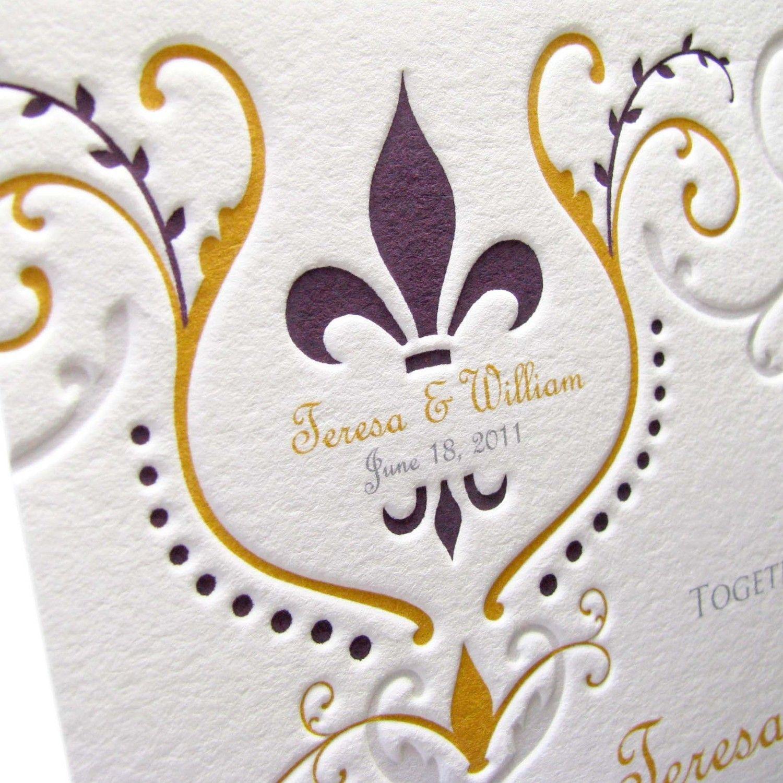 Fleur de Lis Wedding Invitations by LetterpressLight on Etsy ...