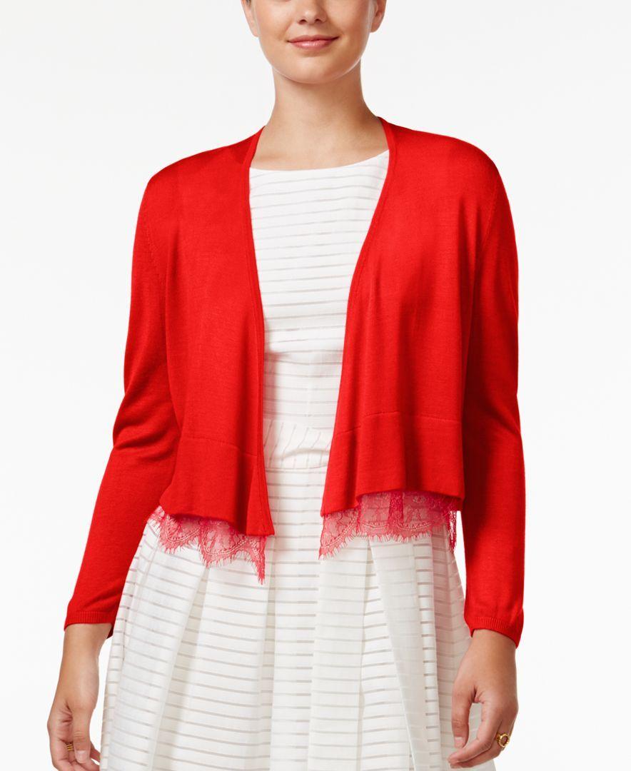 Tommy Hilfiger Lace-Trim Shrug Cardigan | Shops, Lace trim and Lace
