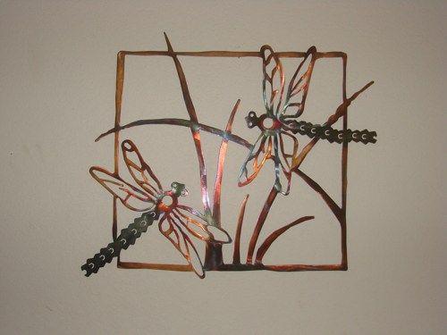 Copper and Torch Patina 24  X 24  Steel Dragonfly Metal Wall Sculpture | Metalheadartdesign - Metal Craft on ArtFire & Copper and Torch Patina 24