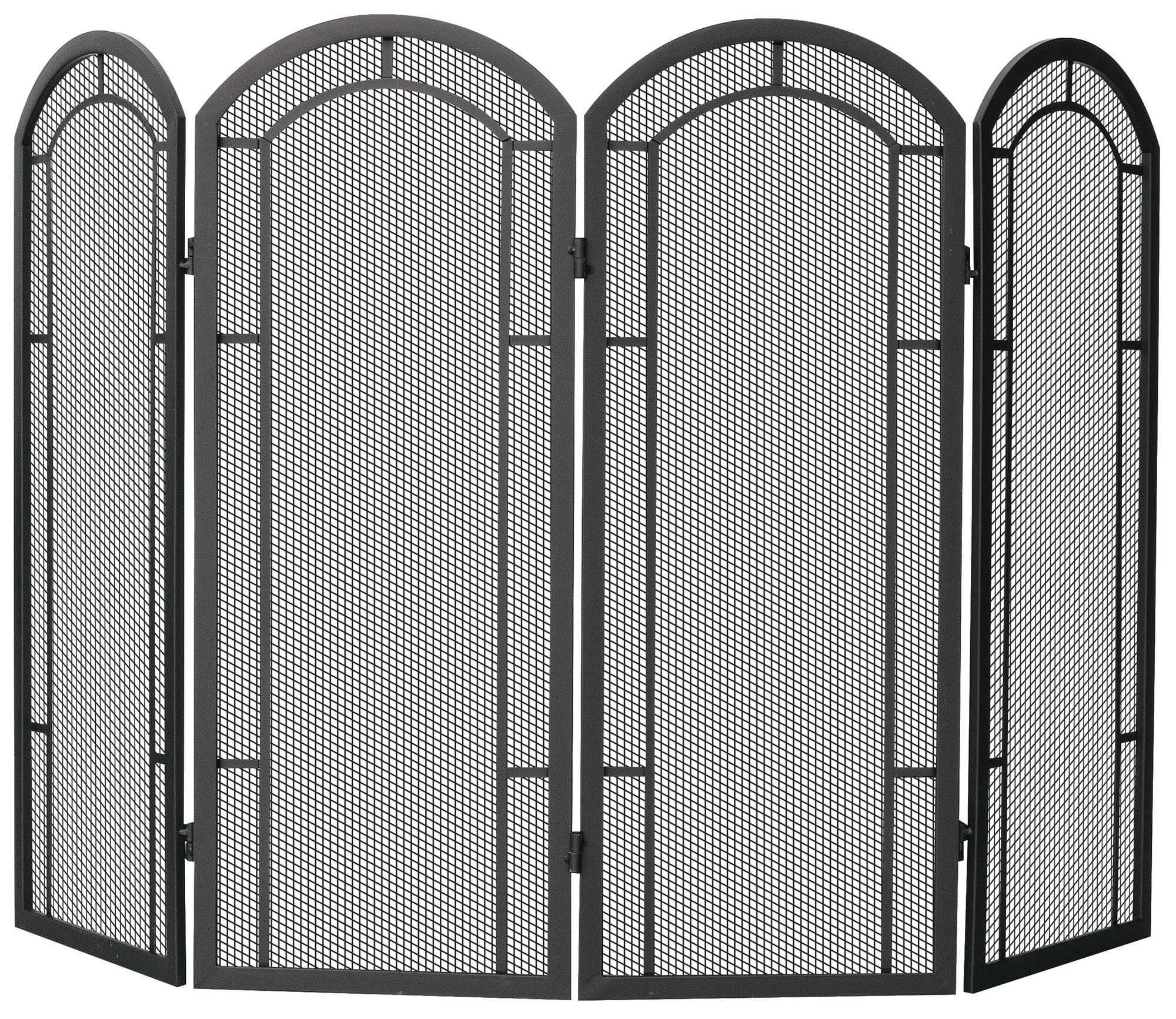 Craftsman style fireplace screen - 4 Panel Wrought Iron Fireplace Screen