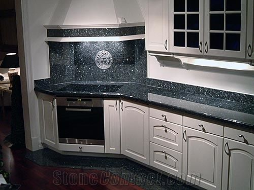 Labrador Blue Pearl Granite Countertop And Backsplash Over Oven. I Like The  Neo Angles For
