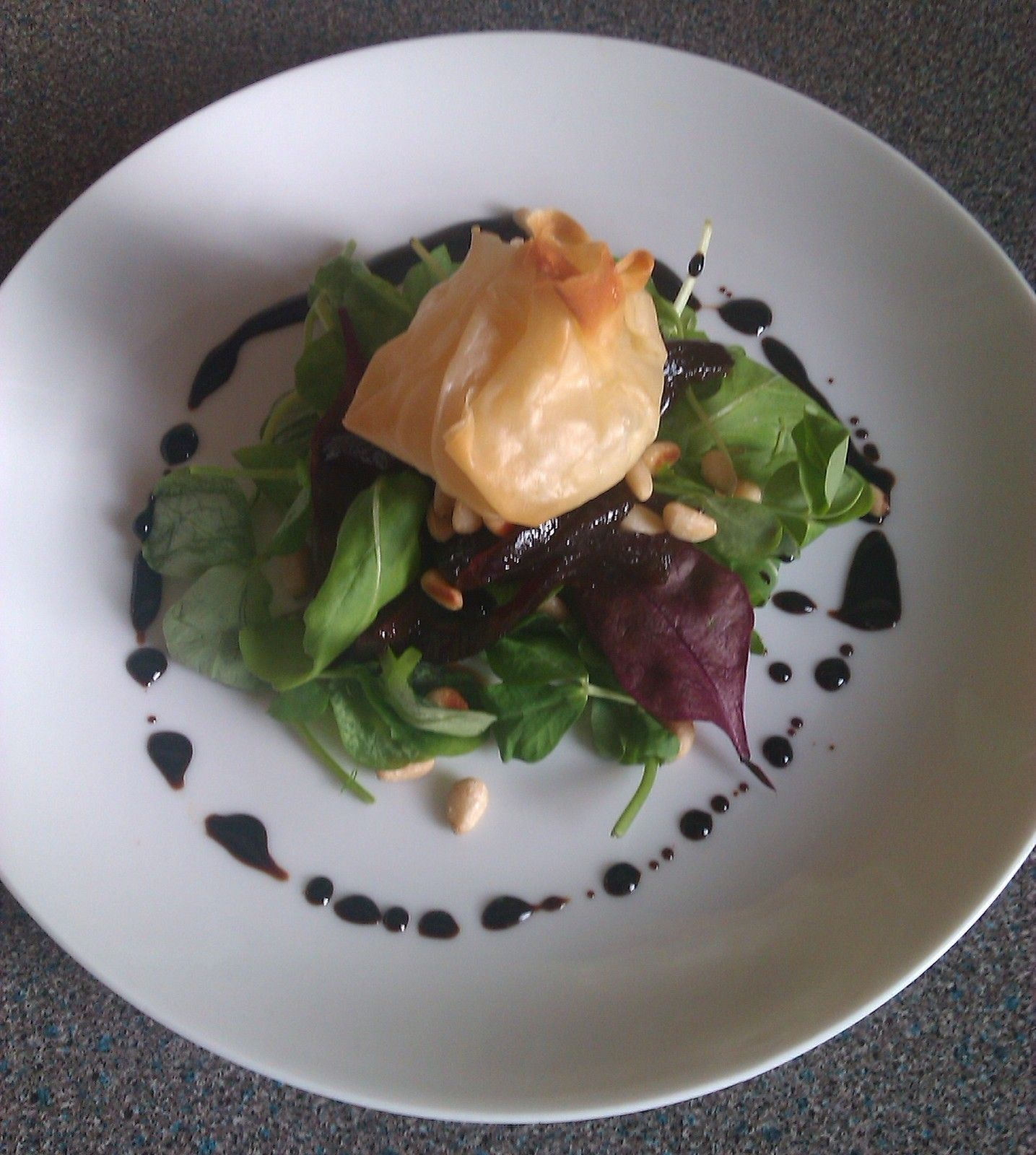 Goats Cheese Filo Parcel With Balsamic Reduction And Caramelised Red Onion Chutney
