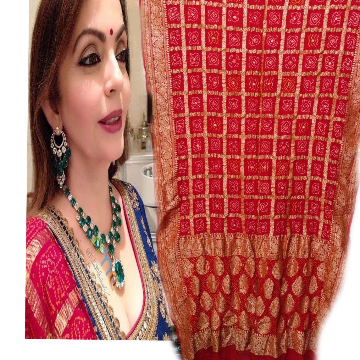 Indian Pakistani Bollywood Sari Wedding Party Wear Traditional Bandhani Saree KR