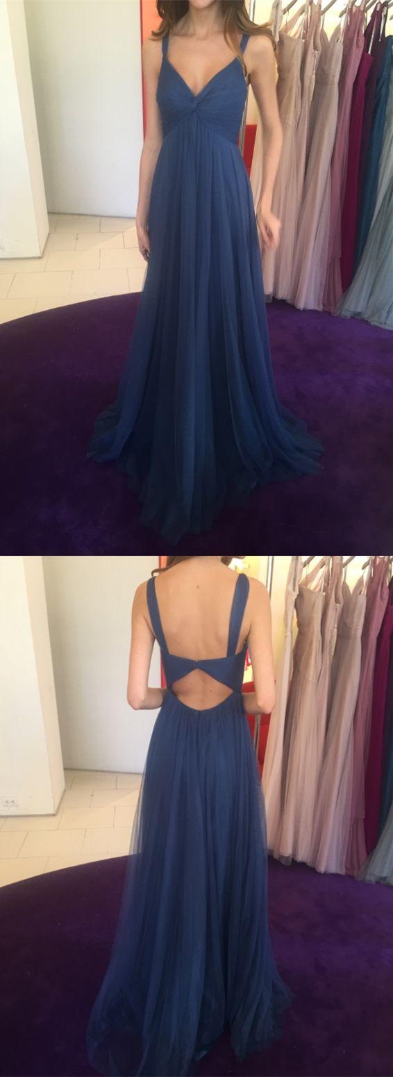 Aline straps open back dark blue prom dress with pleats prom