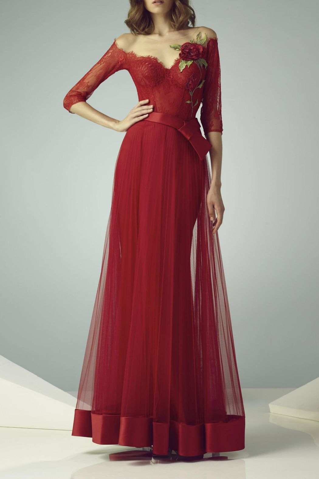Gemy maalouf illusion evening gown illusions gowns and trumpets