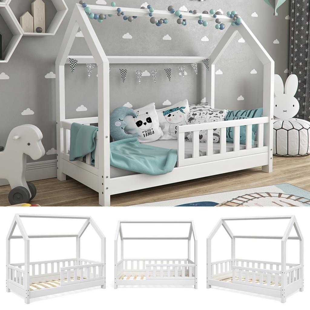 VitaliSpa Hausbett WIKI 70x140cm Zaun Weiß Kinderbett