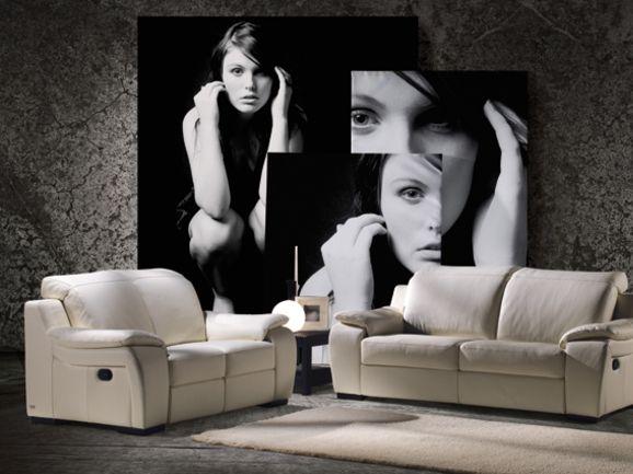 Composizione divano 3 posti 2 posti in vera pelle tinta for Divano vera pelle