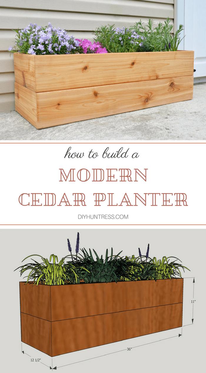 Diy Modern Cedar Planter House Planters Outdoor