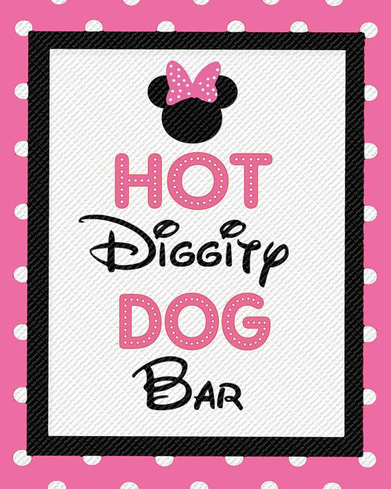 photograph about Hot Diggity Dog Bar Free Printable referred to as Incredibly hot Diggity Pet dog Bar Red/Black/Polka Dot Minnie Mouse Thoughts