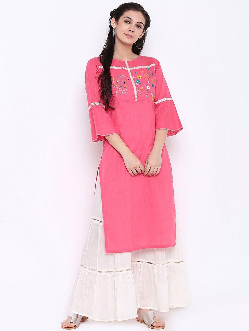 0cac3ad85864 Buy Embroidered Bell Sleeve Kurta by Shakumbhari - Online shopping for  Kurtas in India
