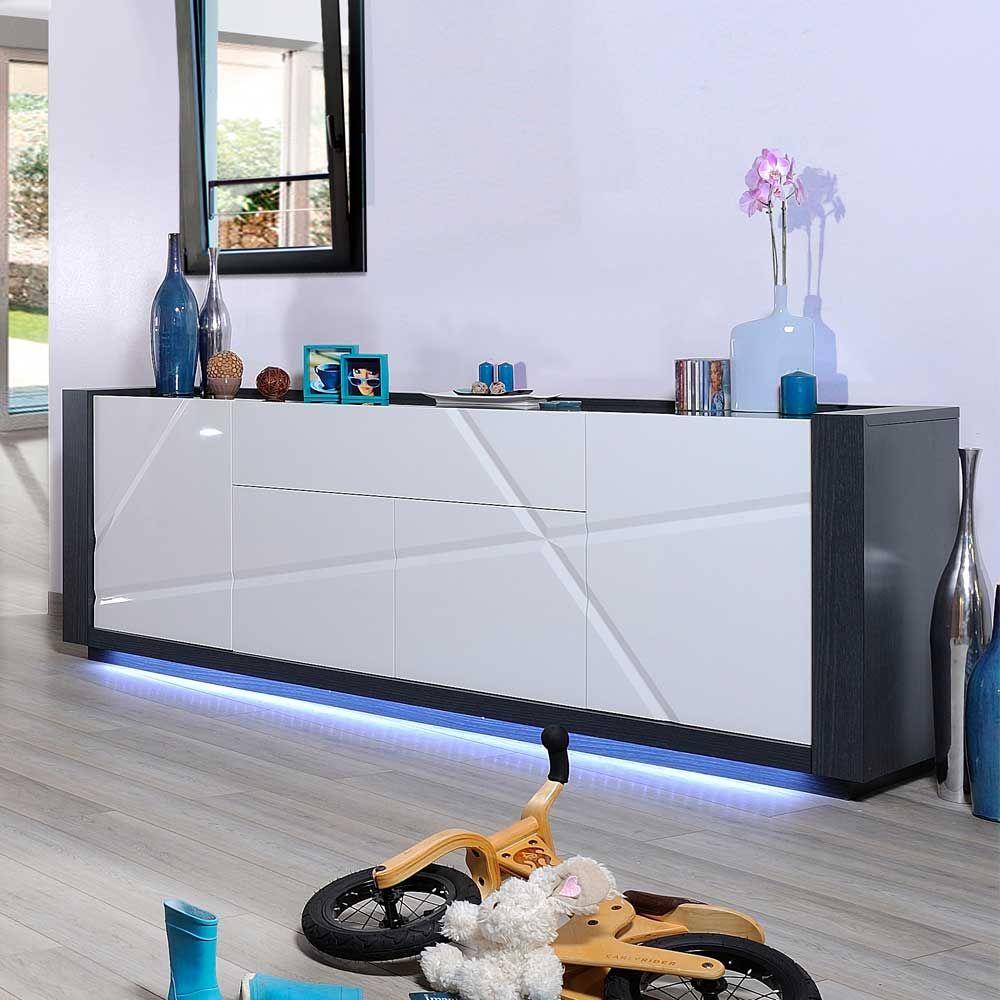 design sideboard mit led beleuchtung weiß hochglanz jetzt ... - Wohnzimmer Sideboard Design