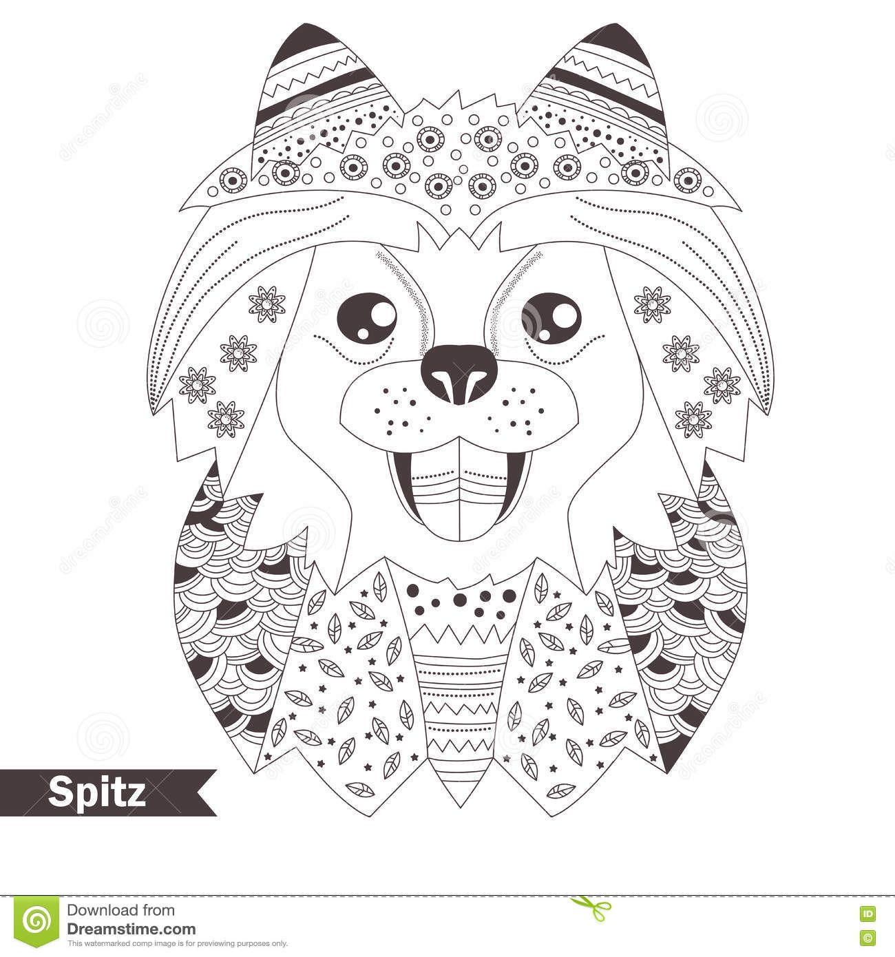 Pomeranian Coloring Pages for Adults | Pomeranian Coloring Book ...