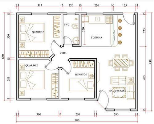 Plantas de Casas Populares Mais ARCHITECTURE + DESING IDEAS - plan maison plain pied 80m2
