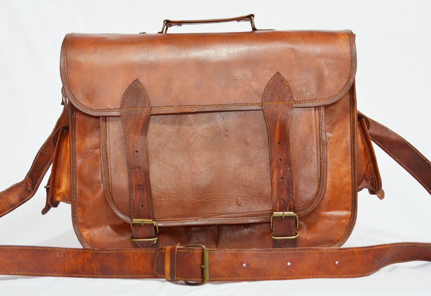 c1d6320752 Men s Genuine Vintage Brown Leather Messenger Bag Shoulder Business  Briefcase (eBay Link)