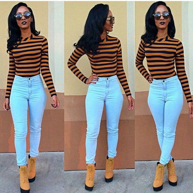 e1a7330da6b74 high waisted jeans, denim outfit, black girl, fashion inspiration, black  womens inspiration, timberlands, plaid crop top, fashion, street style
