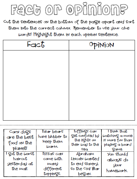 Fact Or Opinion Freebie For My Future Teaching Self Pinterest